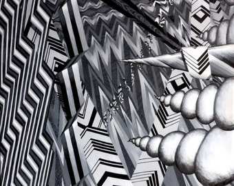 """Black and White Realm - 48"""" x 36"""" acrylic painting on canvas"""