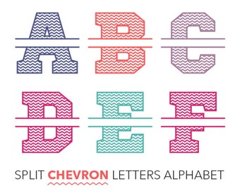 Split Chevron Letters Alphabet (Ai, EPS, SVG, DXF, Studio) Personal Monogram Letters, Cut files for Silhouette Studio, Cutting Machines