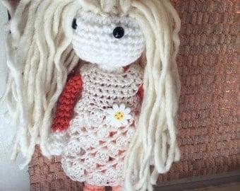 "14"" Crochet Rag Doll Wool Blond hair Crochet dress ReadyTo Ship"