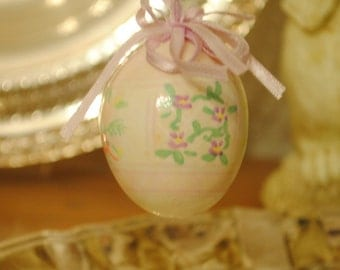Easter EGG Ornaments,  4  Vintage Hand-painted Egg Ornaments, Easter Decorations, Easter Bunny Eggs in Pastel Colors with Ribbons