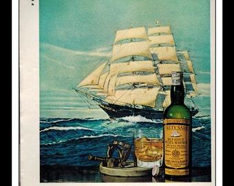 "Vintage Print Ad December 1965 : Cutty Sark Scotch Wisky Sailing Ship Wall Art Decor 8.5"" x 11"" Advertisement"