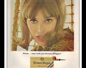 "Vintage Print Ad December 1965 : Klompen Kloggen Tobacco Sexy Girl Wall Art Decor 8.5"" x 11"" Print Advertisement"