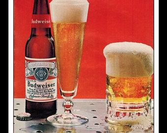 "Vintage Print Ad February 1966 : Bud Budweiser Beer Wall Art Decor 8.5"" x 11"" Advertisement"