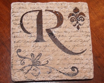 1014 Fleur de lis Monogram Hand Stamped Absorbent Unsealed Turkish Tumbled Travertine Tile Coasters