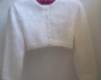 Angora classic style cropped buttoned cardigan or bolero with 3/4 sleeves
