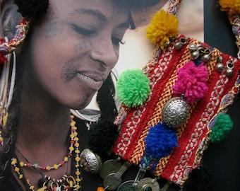 Bereber collar - collar de collar étnico - collar Marruecos - Essaouira - textil - antigua monedas