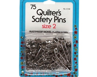 75 Quilter's Safety Pins by Collins (Size 2) W-132