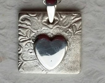 Handmade Beautiful Fine Silver Pendant Necklace  - Free Post