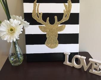 Glitter deer silhouette canvas-11x14