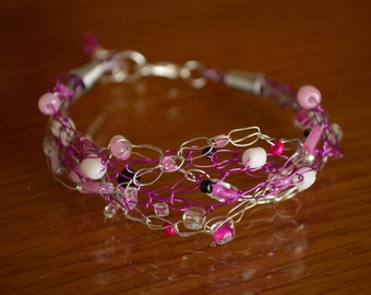 Wire crocheted magenta and silver bracelet