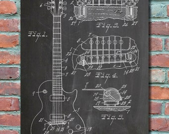 Gibson Les Paul Electric Guitar Patent Wall Art Print, Patent Art, Blueprint, Patent Print, Patent Poster, Plexity Prints #001
