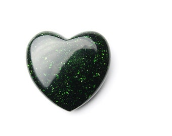 Green Goldstone Heart Shaped Carved Stone