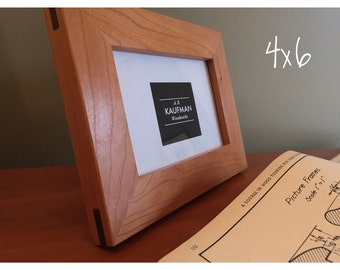 4x6 Handmade Picture Frame - Cherry wood with Walnut Splines - Wooden - Glass - (Single)