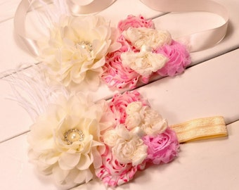 Headband & Matching Satin Flower Belt for Little Girls