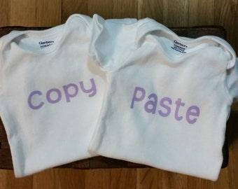 Copy and Paste, Onesie Set, Twin Onesies, Twin Baby Girl Onesies, Baby Shower Gift,  Twin Gift Set, Baby Girl Twins Gift, Funny Onesie Set