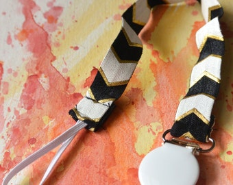 Elastic Pacifier Clip | Black, White And Gold Chevron Print
