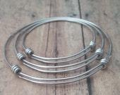 Stainless Steel Adjustable Bangle Bracelet - 70mm - Large Adult Bracelet-Expandable Stainless Steel Wire Bangle Bracelet