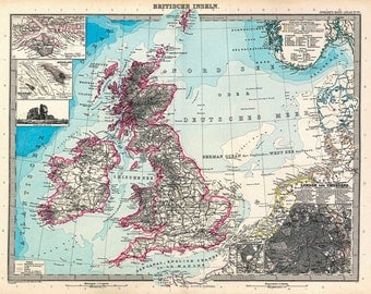 MP13 Vintage Old 1891 German British isles Britain Map Poster Re-Print Wall Decor A1/A2/A3