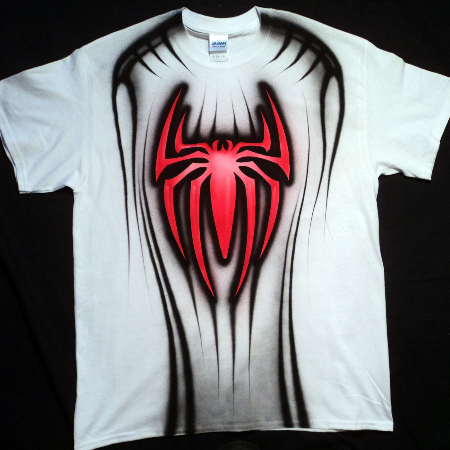Airbrushed Spiderman T Shirt Hand Painted Airbrush