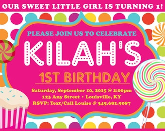 Sweet girl candy and sweets-themed 4x6 birthday party invitation