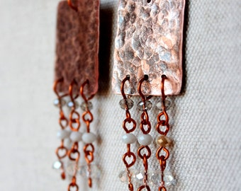 Hammered copper earrings handmade with transparent glass beads