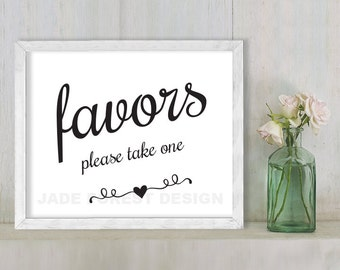 Favors, Please Take One // Wedding Sign DIY // Elegant Calligraphy Printable Poster PDF // Classic Elegance ▷ Instant Download