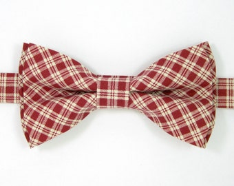 Red Plaid bow tie ,Christmas bow tie,Wedding bow tie for Men ,Toddlers ,Boys