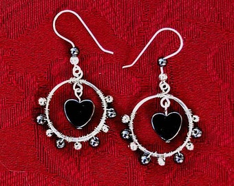 Hematite Heart Wire Wrapped Hoop Earrings