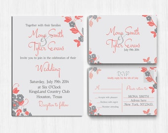 wedding invitation coral gray lace invitation printable wedding invitation grey invitation response - Coral And Grey Wedding Invitations