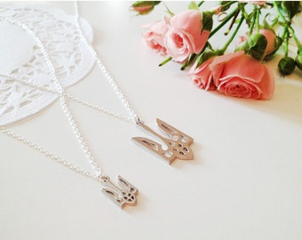 Ukraine Symbol Trident Necklace - Sterling Silver Chain  - Silver Tone Charm Necklace - Ukraine style jewelry, Gift for Her, Women Gift