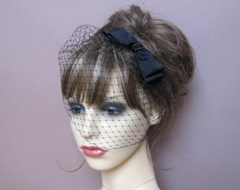 Black birdcage veil wedding funeral fascinator french net veil with bow occasion wear retro garden party 50's 60's vintage style formal veil