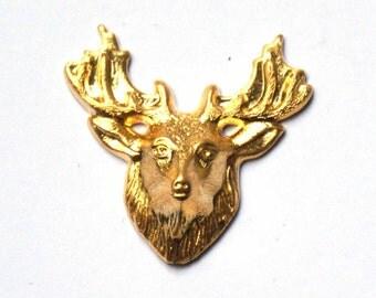 Gold filled brass stamping deer