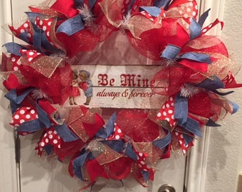 """FREE SHIPPING!! """"Be Mine"""" Valentine's Day Deco Mesh Wreath"""