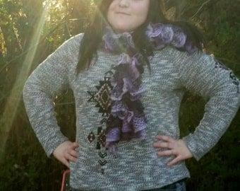 Hand Knit Ruffled, Purple Scarf
