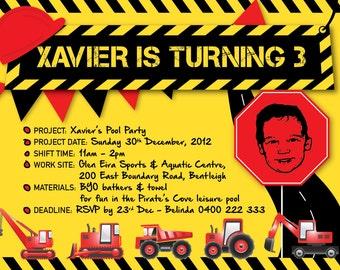 Kids Digger Birthday Invitation