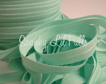 """Solid FOE, 5/8"""" Fold Over Elastic Mint, Mint Elastic, Headband, Lingerie, Baby, Straps, Low Shipping, Foldover"""