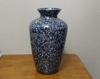 Large Blue Vase with white crystals