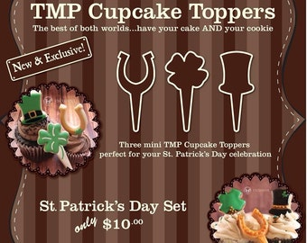 Cupcake Cookie Topper Cutters, St Patrick's Day Set - 3D Printed