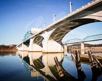 Crisp reflections on the TN river at the Market St bridge in Chattanooga, TN