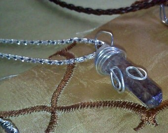 Holographic Quartz Crystal Wire Wrapped Necklace