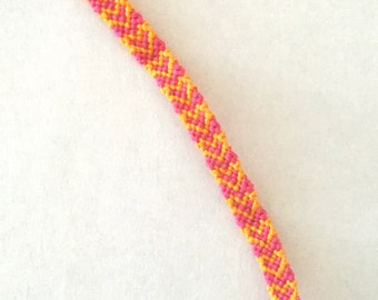 Heart Patterned Friendship Bracelet (pink and yellow)