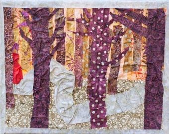 Little Red Riding Hood Forest Illustration. Fine Art Print, Fabric Collage, size 11x14