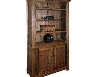 2 Door Vintage Display Cabinet Bookcase, Reclaimed Solid Wood,