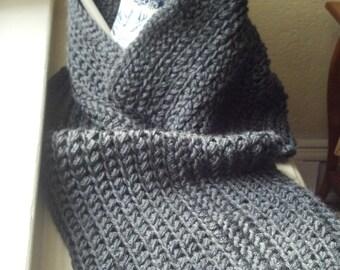 Charcoal Heather Crochet Mini-Throw Scarf Shoulder Wrap