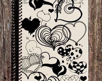 Hearts Journal -  Hearts Notebook - Sketchbook - Journal - Notebook - Diary - Hearts