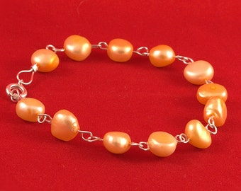 Genuine Apricot CFW Baroque Pearl linked Bracelet