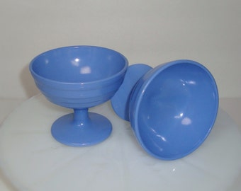 Set of Two Vintage Hazel Atlas Blue Moderntone Platonite Sherbet Cups, Two Blue Ice Cream Cups (Two Sets Available)