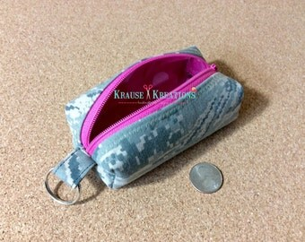 Key ring Zipper Pouch, Cosmetic Bag, Coin Purse