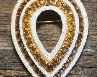 Vintage yellow tear drop rhinestone brooch