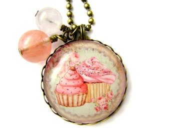 Cupcakes necklace & Natural beads